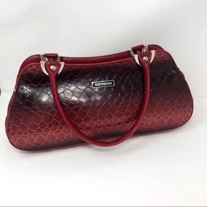 Vittorio Red&Black Faux Snake Embossed Purse